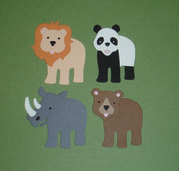 4 Zoo Animal Die Cuts for Scrapbooking and Paper Crafts Embellishment Safari Card Topper Lion Panda Rhino Bear