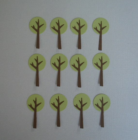 12 Small Tree Die Cuts for Scrapbooking, Cards and Paper Crafts