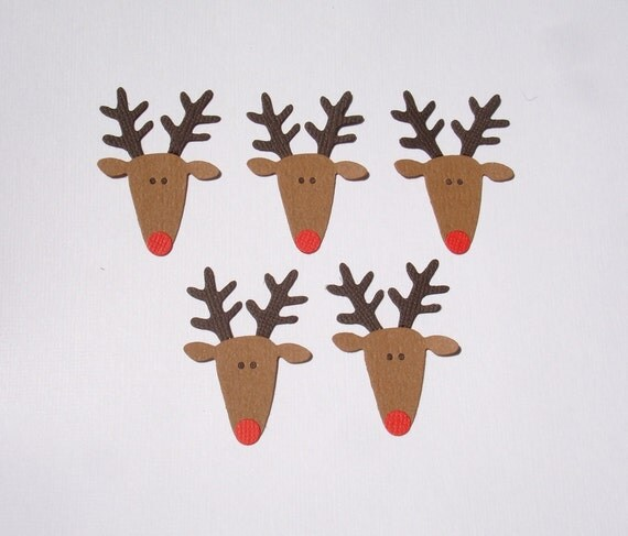 6 Reindeer Face Die Cuts for Christmas Cards Scrapbooking and Paper Crafts