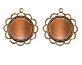 CLEARANCE - 18mm ROUND SETTINGS, in Patina, Beaded Lace Edge - Qty 2, 18mm Brass Bezel Setting