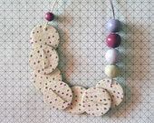 dotted necklace raspberry & ivory