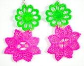 Neon Vintage Lace green and pink earrings