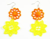 Neon Vintage Laceorange and yellow earrings