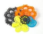 Neon Lace Brooch Black and Multicolor