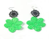 Neon Lace Green and Black Earrings