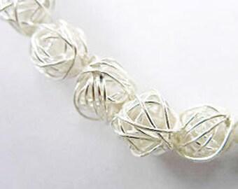 8 of Karen Hill Tribe Silver Wire Ball Beads 8.5-9 mm. :ka2224