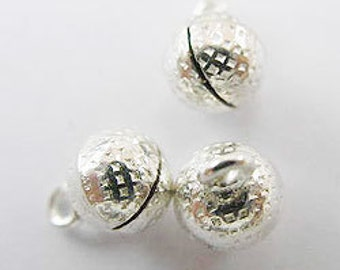 6 of 925 Sterling Silver Round Bell Charms 6 mm. :th0951