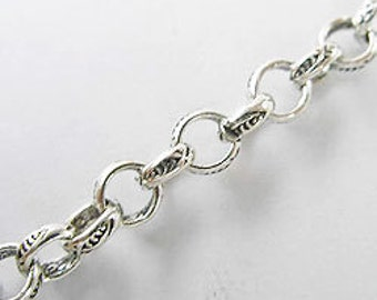 7 inches of Karen Hill Tribe Silver Imprint Opened Chain 5 mm. :ka2994