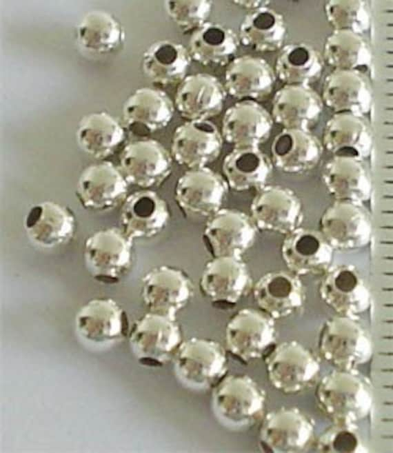 50 of 925 Sterling Silver Seed Beads 3 mm. :th0173