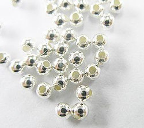 50 of 925 Sterling Silver Seed Beads 2.5 mm. :th0984
