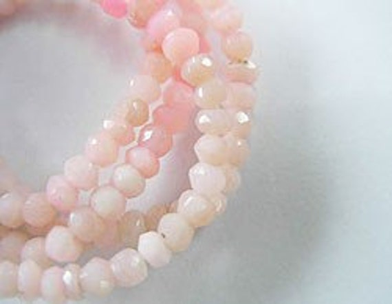 "140 Pink Opal Faceted Rondelle Beads 2.5 - 3 mm. 13"" :gs6870"