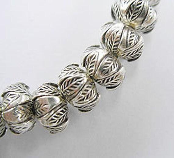 6 of Karen Hill Tribe Silver Wild Nut Beads 8.5x7 mm. :kg2206