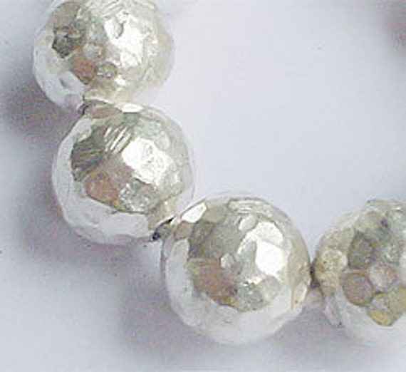 4 of Karen Hill Tribe Silver Hammered Round Beads 10 mm. :kh0105