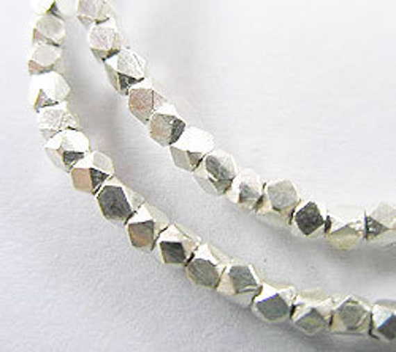 65 Karen Hill Tribe Silver Faceted Spacer Beads 2.1 mm. 6.5 inches :ka2838m