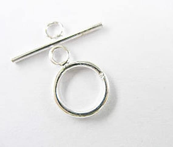 5 of 925 Sterling Silver Toggles 10 mm. :th1069