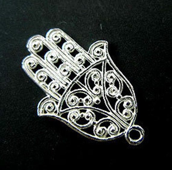 1 of 925 Sterling Silver Hand of Fatima Charm 11x21 mm. :th1095