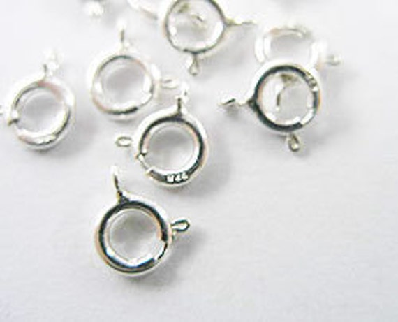 10 of 925 Sterling Silver Spring Clasps 5 mm. :th1081