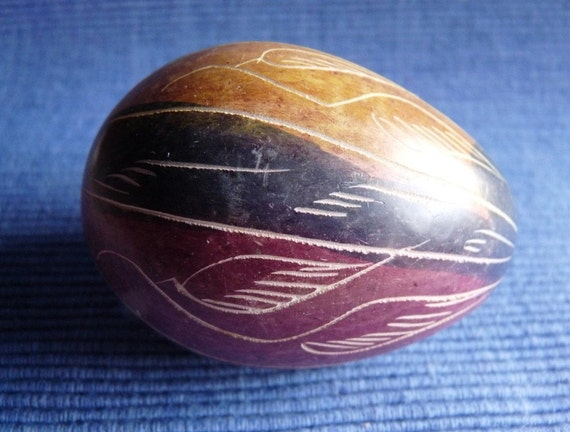 Vintage hand carved stone egg from kenya by marpet on etsy