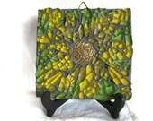 Yellow flower wall art - Mixed Media Mosaic