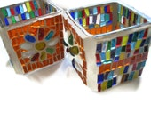 Colorful Candle holders Glass Mosaic Pair FREE SHIPMENT Orange Blue white Yellow Green Red