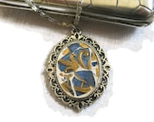Victorian Pendant Romantic Necklace Mosaic Antiqued Silver Oval  Blue Gold Czech Glass RESERVED  for Aviva