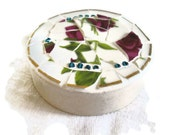 Round Paperweight mosaic on marble purple rose turquoise beads