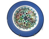 Ceramic Plate Mosaic Blue wall Art hanging Home Decoration easel glass decoupage