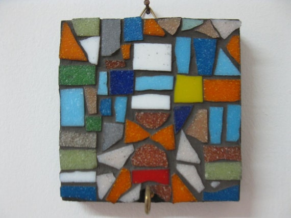 Colorful Mosaic Key Holder Wall Mount Hook Glass Tile Decorative Hanger