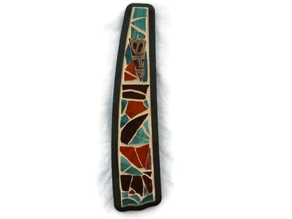 Mezuzah case scroll Stained Glass Mosaic Art Teal Orange Purple