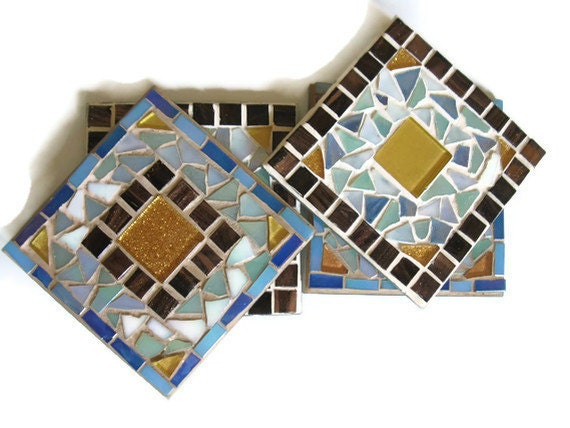 Mosaic Coasters Blue Brown Gold Tile Iridescent Glass set of four Kitchen Home Decoration