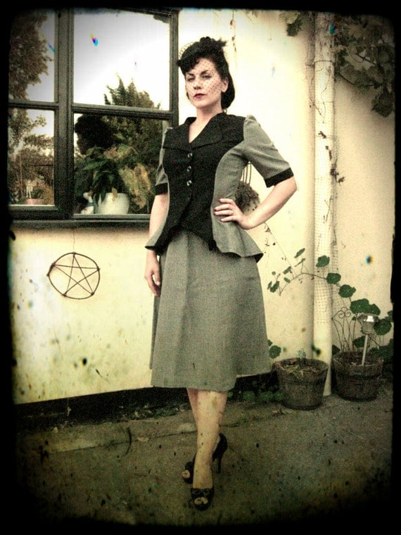 1940/WW2 style two-piece dress  (CUSTOM MADE)