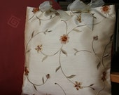 Cream Embroidered Ribbon Cushions