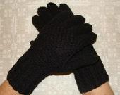 Hand knitted black mens gloves