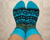 Hand knitted thick warm socks. Size: EU 36 - 37 , US 4,5 - 5