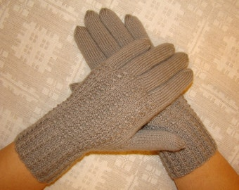 Women gloves- hand knitted, warm, soft, gray