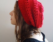 RED knitted BERET  hat  Free Shipping  women teenage