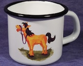 Enameled Tin Mug - with an own drawing / horse
