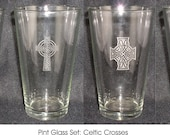 Engraved Pint Glass Sets with Wedding Designs - qty of 10