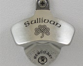 Wall Mount Bottle Opener Custom Engraved - Stainless Steel with Capcatcher