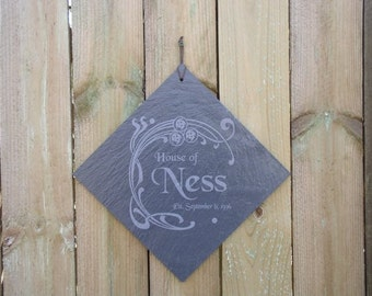 Custom Family Name Sign Engraved in Slate with your Name and Wedding Date