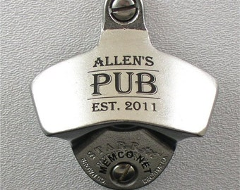 Stainless steel bottle opener capcatcher personalized with - Personalized wall mount bottle opener ...