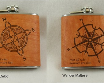 Leather Flask, Personalized Flask, Groomsman Gift, Groomsmen Gifts, Leather Anniversary - for all you Wanderers