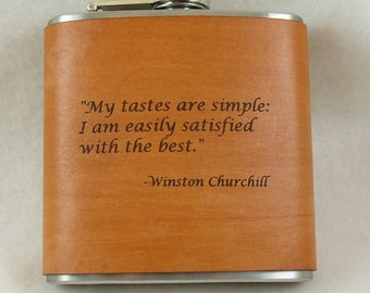Winston Churchill Flask - Engraved Flask with Hand Dyed Engraved Leather Wrap