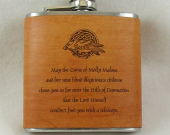 Celtic Curse Flask - Engraved Flask with Hand Dyed Engraved Leather Wrap