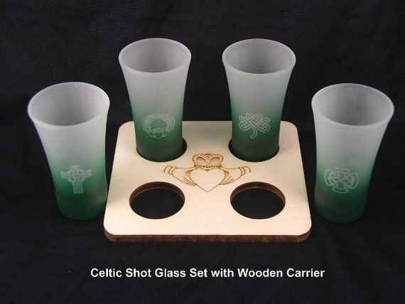 Shot Glass Set and Tray Engraved with Irish Celtic Designs