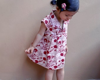 PDF Pattern - Hannah Dress for 12M - 5T and tutorial.