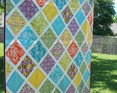 Central Park Garden Lattice Modern Quilt FREE U.S SHIPPING