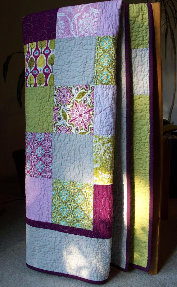 Peace Love and Patchwork in Central Park Sofa Quilt in Purples, Pinks, Cool Greens and Ash Grey FREE U.S SHIPPING