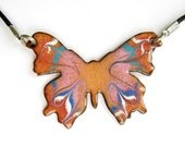 Pink Butterfly Necklace - Handmade copper enamel - large