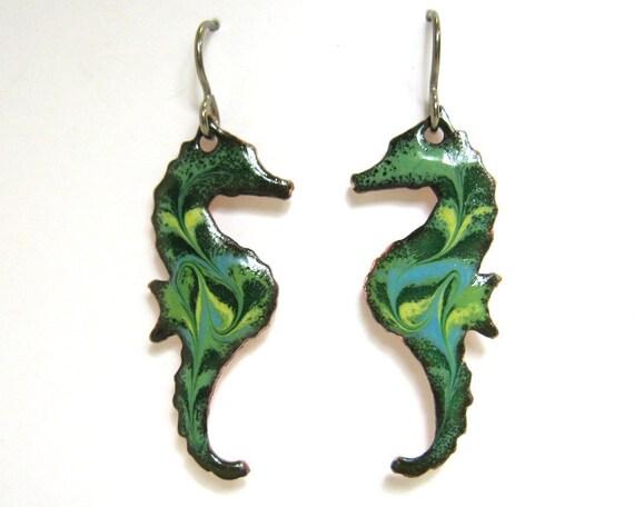 Handmade Green Seahorse Earrings - Enamel on copper with titanum earring hooks